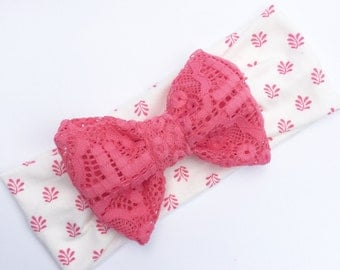 Bow turban headband hot pink bow olive branch print fabric