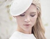 Birdcage Veil Cocktail Hat, Wedding Veil Hat, Bow Saucer Hat, Retro Style Hat, Wedding Fascinator - Adele