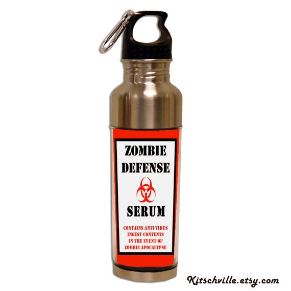 Funny Zombie Apocalypse Defense Water Bottle ~ 15oz Stainless Steel