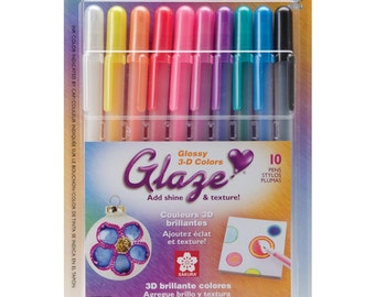 Gelly Roll GLAZE Collection Glossy 3D 10 Assorted Colors Pens BRIGHTS