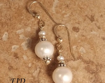 Freshwater Pearl, Sterling Silver and Gold Earrings