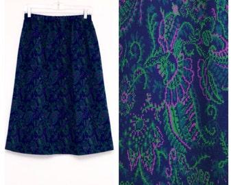 Vintage 1980s Paisley High Waisted A-Line Skirt