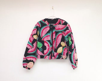 Vintage 1980s Hand Painted Pure Silk Watermelon Print Cropped Quilted Jacket