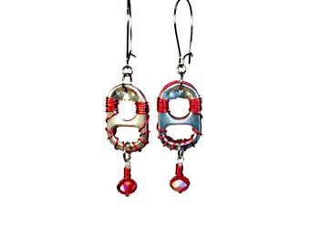 Repurposed Recycled Upcycled, Eco Friendly Jewelry, Soda Tab Earrings, Reversible