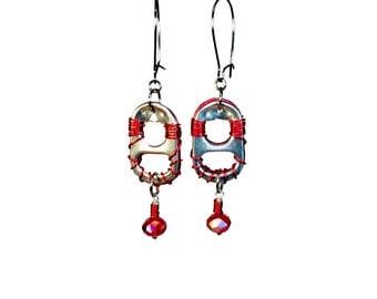Repurposed Recycled Upcycled, Eco Friendly Jewelry, Soda Tab Earrings, Dangle Earrings Reversible