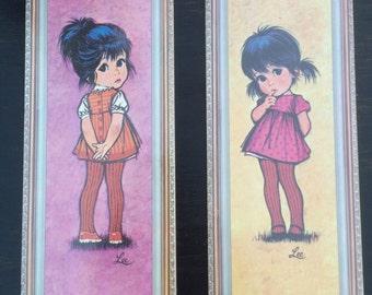 Vintage Lee wall plaques Little Girl Big Eyes Litho USA 1971