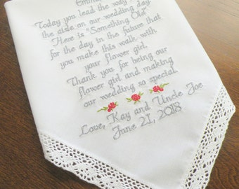 Flower Girl Wedding Gift Wedding Gifts for Flower Girls Personalized Embroidered Wedding Hankerchief for Flower Girl By Canyon Embroidery