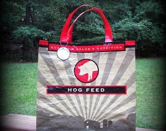 Hog Feed Tote, Feed Sack Bag, Red and Black, Recycled Feed Bag, Feedsack Tote, Grocery Bag, Feedsack Bag, Pig, Grain Bag, Upcycled