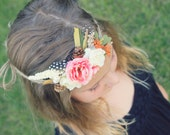 Fall Tieback headband, Orange Flower crown, Floral halo headband, baby headband, Fairy headband, Autumn headband, Newborn tieback photo prop