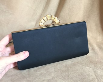 Vintage Black Clutch Evening Bag, Black Satin Clutch Purse, Art Deco Style Gold Clasp, Small Minaudiere Dressy Formal Purse