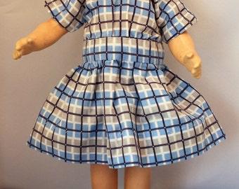 Doll Clothes Blue Plaid Dress Vintage Handmade 12 inch Medium Size