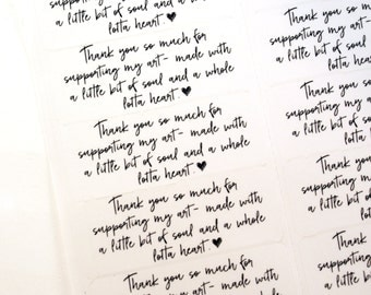 Shop Exclusive - Thank you for supporting my art - handwritten font with sketchy heart - made with soul and a whole lotta heart