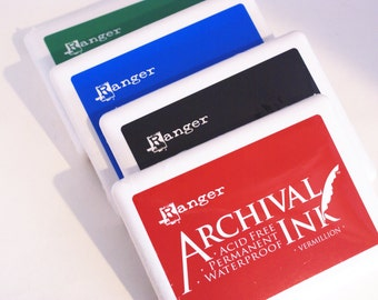 Ranger Archival Ink JUMBO Ink pad 6.25 x 4 surface - permanent and waterproof - good for a variety of surfaces