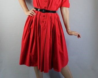 Vintage 1950s 50s Women's Lipstick Red Cotton Shirtwaist Shirtdress Casual Day Dress // Holiday Party Dress