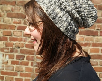 Gray Slouchy Beanie, Hand Knitted Womens Beanie, Cabled Grey Mens Hat Knitwear, Thin Knit Slouchy Skull Cap, College Student Gift Winter