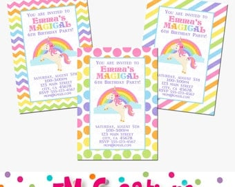 Rainbow Unicorn Party Invitation - Unicorn Printable Invite - Unicorn Birthday Party Printables - Digital Invite- Stripes Chevron Polka Dots
