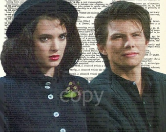 Winona Ryder Christian Slater Heathers Veronica and JD 1980s Vintage Upcycled Dictionary Art Print