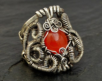 Steampunk Ring, Silver Gothic Ring, Wire Wrapped Ring, Gemstone Ring, Oxidized Ring, Carnelian Ring, Chunky Womens Ring, Steampunk Jewelry