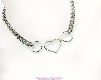 BDSM Submissive Day Collar Locking OPEN HEART Choker Necklace Dual Rings Silver-Plate and Stainless Steel Chain Heart Padlock or Lobster