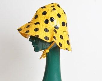 Vintage 60s MOD Polka Dot Print Rain Hat