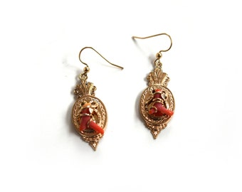 Antique Victorian Coral Earrings c.1880s
