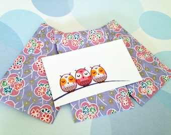 Gift Card, Gift Enclosure, Gift Tag, Mini Cards, Envelopes, Owl, Set of 9