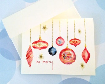 Christmas Card Set, Holiday Cards, ornament Cards, Set of 10 cards