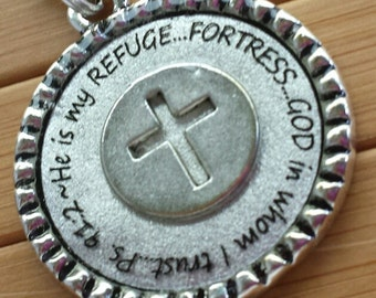 Scripture necklace He is my refuge fortress God in whom I trust Psalm 91 2... cross silver word quote scripture necklace pendant with chain