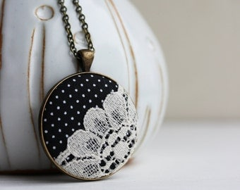 Black and White Necklace, Retro Jewelry, Unique Necklace for Women, Gift, Polka Dot Jewelry, Boho Cotton Lace Necklace, Black Flower Pendant