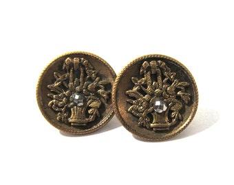 Victorian Cut Steel Buttons Brass Cut Steel VINTAGE Two (2) Victorian Buttons Floral Brass Steel Sewing Jewelry Wedding Supplies (G134)