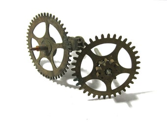 Clock Gears Vintage STEAMPUNK Gears Two (2) Large Clock Gears Mechanical Movements Robots Art Assemblage Supplies Clock Repair Supply (D75)