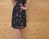 Vintage 70's Black Sheer Rainbow Fan Print Summer Midi A-line Dress SZ M/L