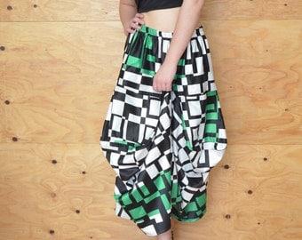 Vintage 80's Avant Garde Black & Green Window Pain Skirt Great Bold Look SZ S