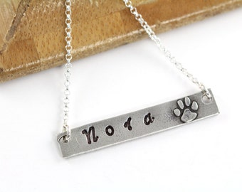 Paw Print Bar Necklace - Personalized Jewelry 925 Sterling Silver