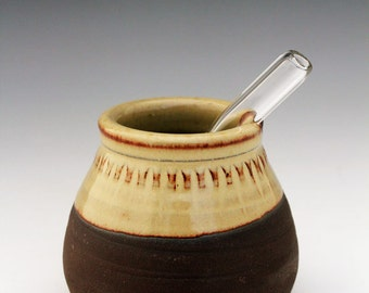 Yerba mate gourd and bombilla ceramic and glass
