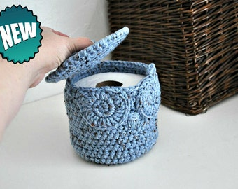 Owl Toilet Tissue Basket Bathroom Decoration Spare Roll Holder Rustic Blue Home Decor Custom Colors