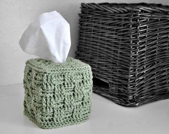 Sage Green Tissue Box Cover Modern Home Decor Basket Weave