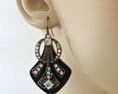 Art Deco Earrings - Antique Gold Earrings - Upcycle Earrings - Aura Crystal Earrings - Black Earrings - handmade jewelry
