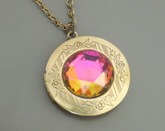 Vintage Locket Necklace - Rainbow Necklace - Statement Necklace Brass Necklace - Colorful Necklace - Rhinestone Necklace - Handmade Jewelry