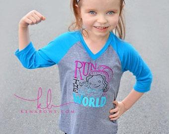 Girl Power Shirt, Run The World, Monogrammed Silver Headband, Infant, Toddler, Tween, Turquoise Blue, Grey, Sporty, Raglan Tee, 3/4 Sleeve