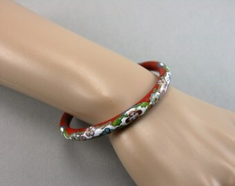 Vintage Chinese Cinnabar, Cloisonné Bangle Bracelet 1970's Unused
