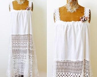 Antique Edwardian White Cotton Lace eyelet dress/ Vintage Bridal/Vintage millinery/Wedding dress/Summer dress