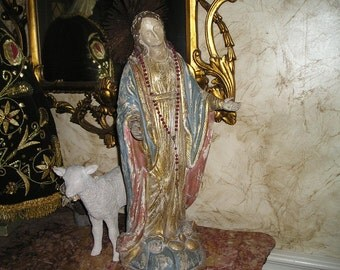 "Celestial Distressed Virgin Mary/Madonna Statue w/Lamb.Religious 28"" Figure Very Nice Christmas Display Set"