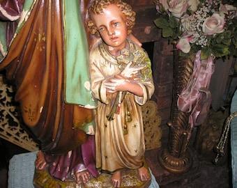 "Antique XLG. Belgium Monastery Church Altar Icon Joseph and Child Jesus Christ w/Cross Statue Shabby Magnificent 33x13"""
