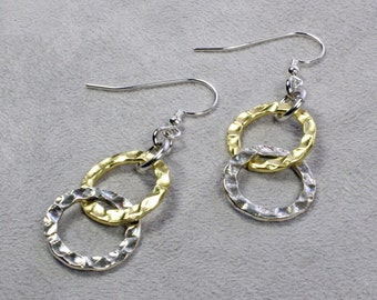 Silver and Gold Earrings - Gold and Silver Earrings - Silver Earrings - Gold Earrings - Mixed Metal Earrings