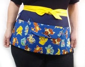Pokemon Fabric made into a Vendor Apron with Pockets, Money Pouch, Multipurpose Utility Novelty Convention Craft Show Waitress Waiter