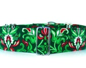 Floral Damask Martingale in either 1.5 inch or 2 inches wide. Red, green and white floral Damask Martingale Dog Collar