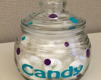 Personalized Candy Jar Great, Personalized glass candy jar - name or monogram, Great teacher or Mother's Day gift, choose your colors