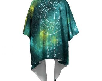 Boho Kimono / Celestial Draped Moon Phase Sacred Geometry Shamanic New Age Blue Green Mandala Gradient Robe festival wear / Bohemian New Age