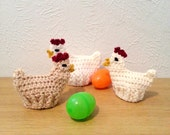 Chicken Easter Egg Cozies, Crochet Egg Cozies, Set of 3 Easter Decorations